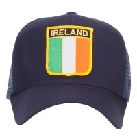 Embroidered Cap - Navy Ireland Flag Shield Patched Cap