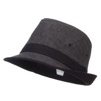 Fedora - Black Boy's Cotton Trimmed Fedora
