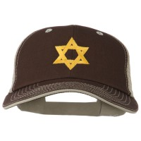 Embroidered Cap - Brown Beige Jewish Star Embroidered Cap