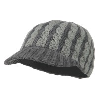 Cadet - Grey Two Tone Cable Knit Military Cap