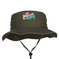 Bucket - Hiking Map Patched Bucket Hat | Free Shipping | e4Hats.com