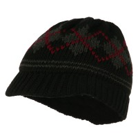 Beanie Visored - Black Kid's Knit Pattern Visored Beanie