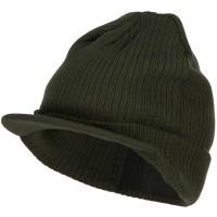 Beanie Visored - Olive Big Knit Ribbed Beanie Visor