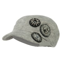 Cadet - Grey Knit Military Cap Circle Motifs