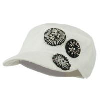 Cadet - White Knit Military Cap Circle Motifs