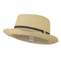 Fedora - Beige Kid's Pork Pie Stripe B, Fedora