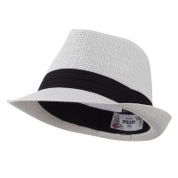 Fedora - White Kid's Straw Black B, Fedora