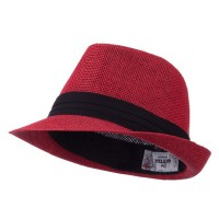Fedora - Red Kid's Straw Black B, Fedora