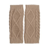 Glove - Taupe 8 Inches Knit Hand Warmer