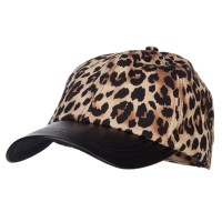 Ball Cap - Brown Leopard Print Cap Leather Bill