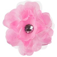 Band - Pink Flower Hair Clip with Lace