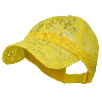 Ball Cap - Yellow UV Lace Sequin Glitter Cap