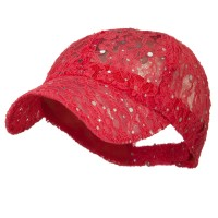 Ball Cap - Coral UV Lace Sequin Glitter Cap