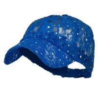 Ball Cap - Royal Blue UV Lace Sequin Glitter Cap