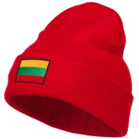 Beanie - Red Lithuania Flag Embroidered Beanie