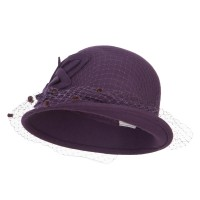 Cloche Hat - Pecan Leaf Flower Net Wool Cloche