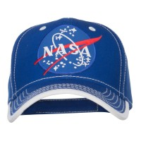 Embroidered Cap - Royal White NASA Lunar Patched Cotton Cap