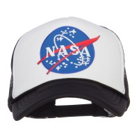 Embroidered Cap - Black White NASA Lunar Patched Foam Cap | Coupon Free | e4Hats.com