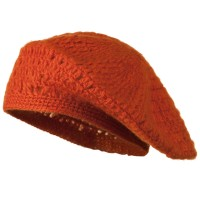 Beret - Orange Mohair , Acrylic Knit Beret