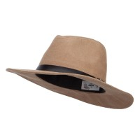 Fedora - Tan Suede Panama PU Buckle Band Hat