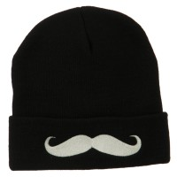 Beanie - Black Mustache Embroidered Beanie | Coupon Free | e4Hats.com