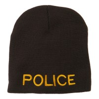 Beanie - Brown Police Embroidered Short Beanie