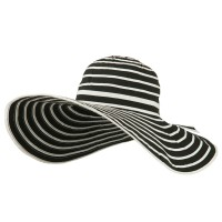 Dressy - Black White UPF 40+ Striped Wide Brim Sun Hat