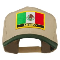 Embroidered Cap - Green Khaki Mexico Flag Patched Cap   Coupon Free   e4Hats.com