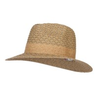 Fedora - Olive Mixed Braid Ribbon Panama Hat