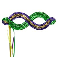 Face Mask - Green Yellow Mardi Gras Sequin Eye Mask