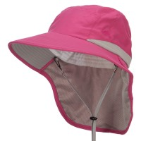 Outdoor - Fuchsia Microfiber UV Large Bill Flap Hat