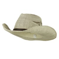 Western - White Brown Men's Paper Straw Hat