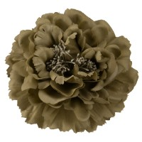 Pin , Badge - Taupe Multi Petal Flower Pin , Clip
