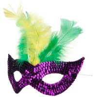 Face Mask - Purple Green Mardi Gras Sequin Mask