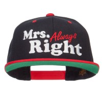 Embroidered Cap - Black Red Mrs Always Right Snapback