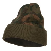 Beanie - Green Camo Knit Long Beanie with Cuff