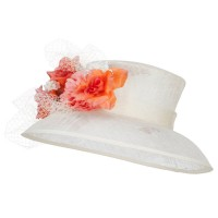 Dressy - Ivory Mixed Flower Sinamay Hat | Coupon Free | e4Hats.com