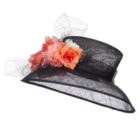 Dressy - Black Mixed Flower Sinamay Hat | Coupon Free | e4Hats.com