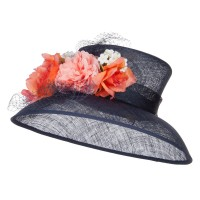 Dressy - Navy Mixed Flower Sinamay Hat | Coupon Free | e4Hats.com
