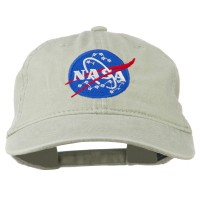 Embroidered Cap - Stone NASA Insignia Embroidered Dyed Cap