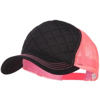 Ball Cap - Black Neon Pink Quilted Neon Mesh Big Size Cap