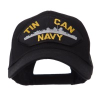 Embroidered Cap - Navy Fan Shape Large Patch Cap | Free Shipping | e4Hats.com