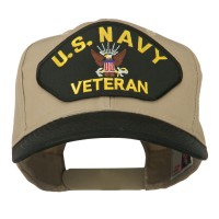 Embroidered Cap - Black Khaki Navy Veteran Patched Two Tone Cap