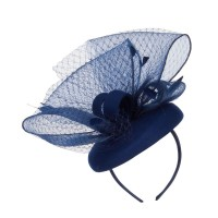 Dressy - Navy Horsehair Net Crown Fascinator