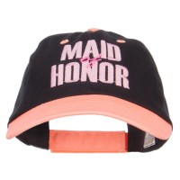 Embroidered Cap - Black Neon Orange Maid of Honor Embroidered Cap