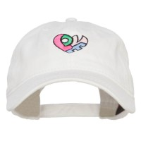 Embroidered Cap - Love Heart Shape Washed Cap