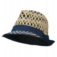 Fedora - Navy Open Weave Sea Grass Fedora Hat