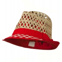 Fedora - Red Open Weave Sea Grass Fedora Hat