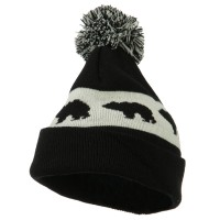 Beanie - Black Pom Pom Accented Knitted Hat