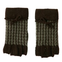 Glove - Brown Patterned Angora Blend Glove